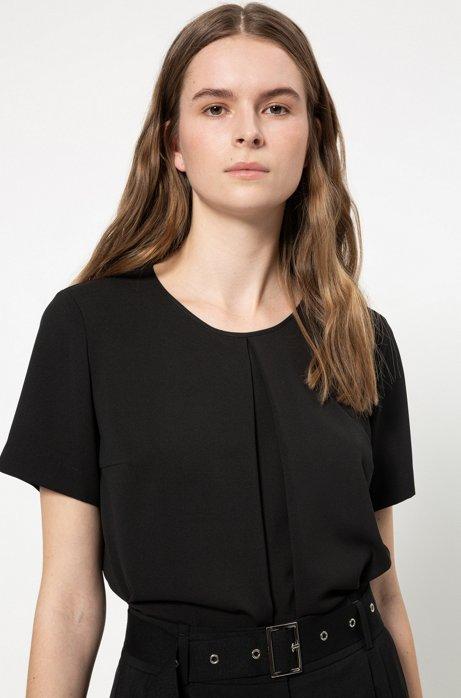 Regular-fit T-shirttop met plooien aan de voorkant, Zwart