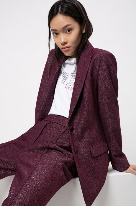 Regular-fit single-breasted jacket in sparkling fabric, Dark Purple