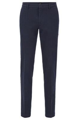 Pantalon Slim Fit en twill mouliné bicolore, Bleu foncé