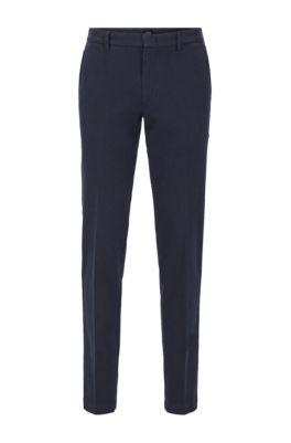 Pantalon Slim Fit en twill mouliné bicolore, Bleu foncé