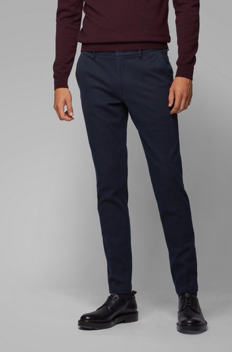 Pantalones slim fit en sarga mouliné bicolor, Azul oscuro