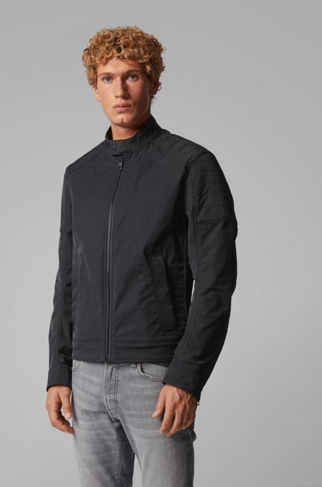 Slim-fit padded jacket in water-repellent stretch twill, Black