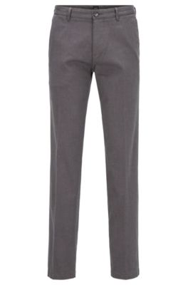 Fein gemusterte Regular-Fit Chino aus Stretch-Baumwolle, Grau
