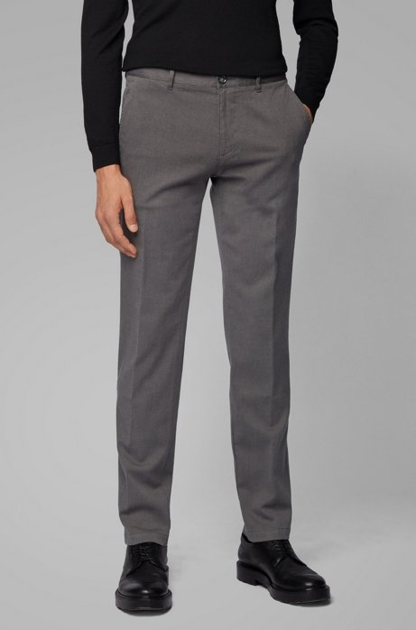 Regular-fit chinos in micro-patterned stretch cotton, Grey