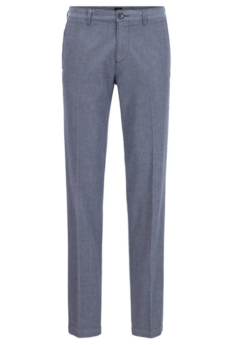 Regular-fit chinos in micro-patterned stretch cotton, Blue
