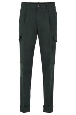 Pantaloni cargo relaxed fit in tessuto italiano, Verde scuro