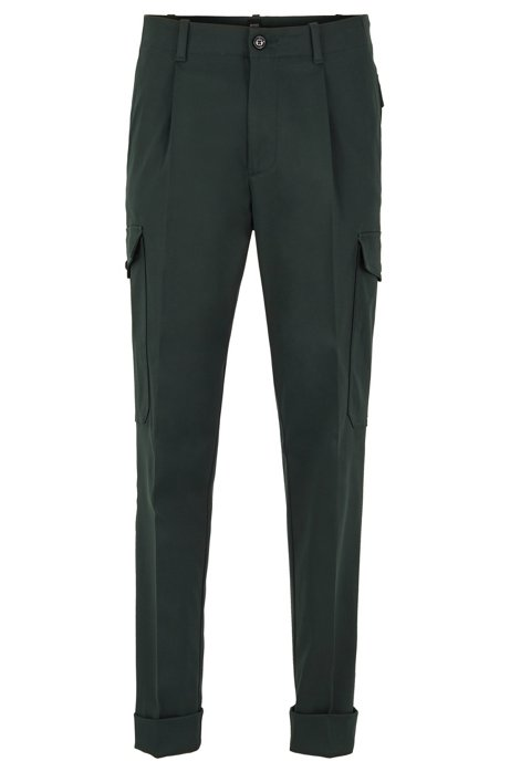 Pantaloni cargo relaxed fit in tessuto italiano, Verde scuro