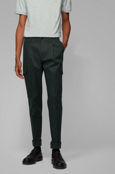 Relaxed-fit cargo trousers in Italian fabric, Dark Green