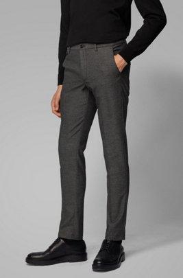 Slim-Fit Hose aus Stretch-Twill mit Monogramm-Print innen, Schwarz