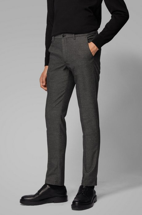 Slim-fit trousers with monogram-print interior, Black