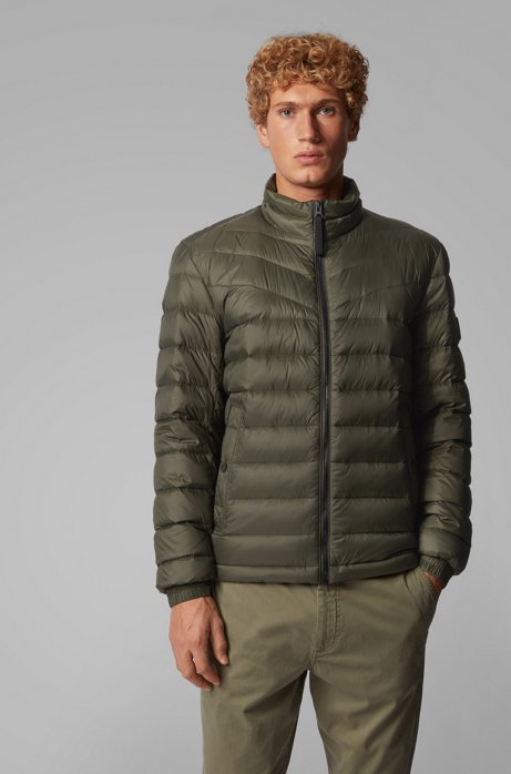 Lightweight slim-fit down jacket with water-repellent finish, Green