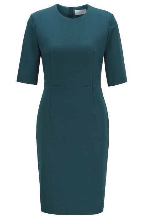 Shift dress in houndstooth-structured jersey with zip, Dark Green