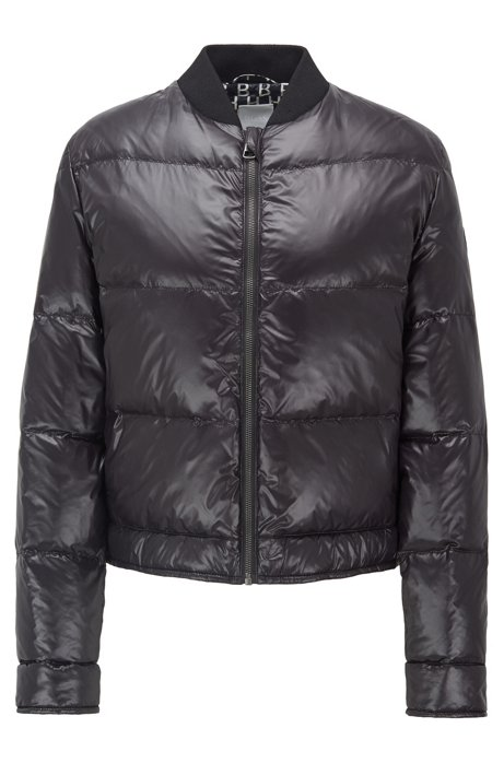 Water-repellent bomber jacket with down filling, Black