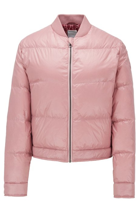 Water-repellent bomber jacket with down filling, light pink
