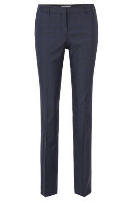 Regular-fit geruite broek van elastische scheerwol, Bedrukt