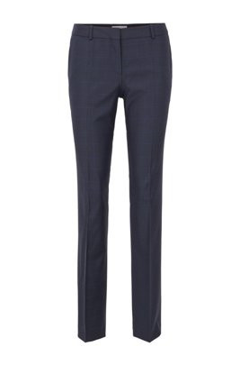 Regular-fit checked trousers in stretch virgin wool, パターン