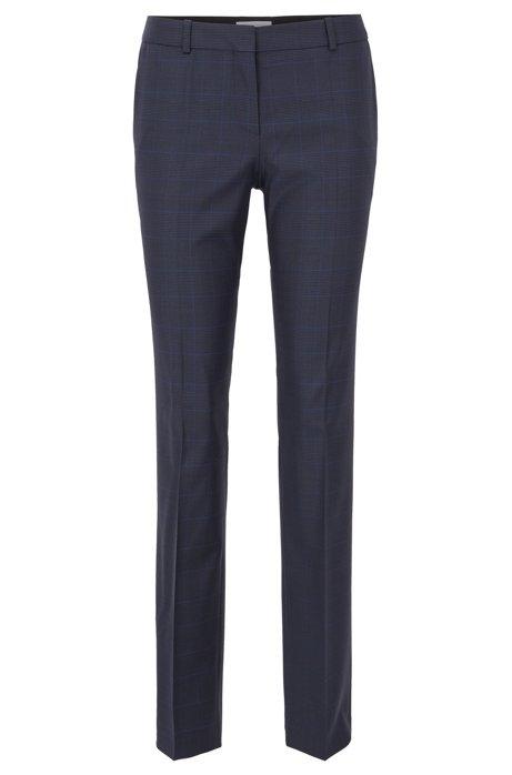 Regular-Fit Hose aus natürlich elastischer Schurwolle mit Karo-Muster, Gemustert