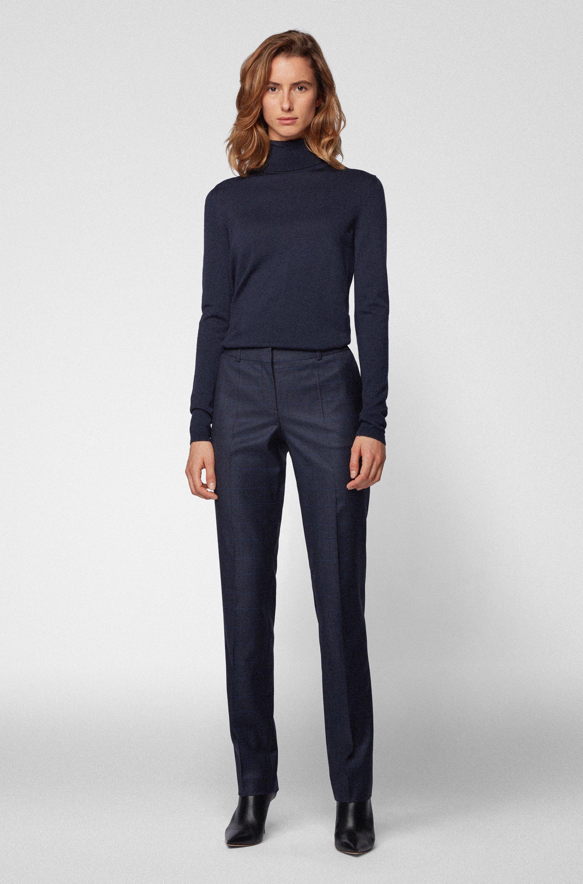 Pantalones regular fit a cuadros de lana virgen elástica