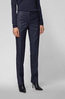 Regular-fit checked trousers in stretch virgin wool, Patterned