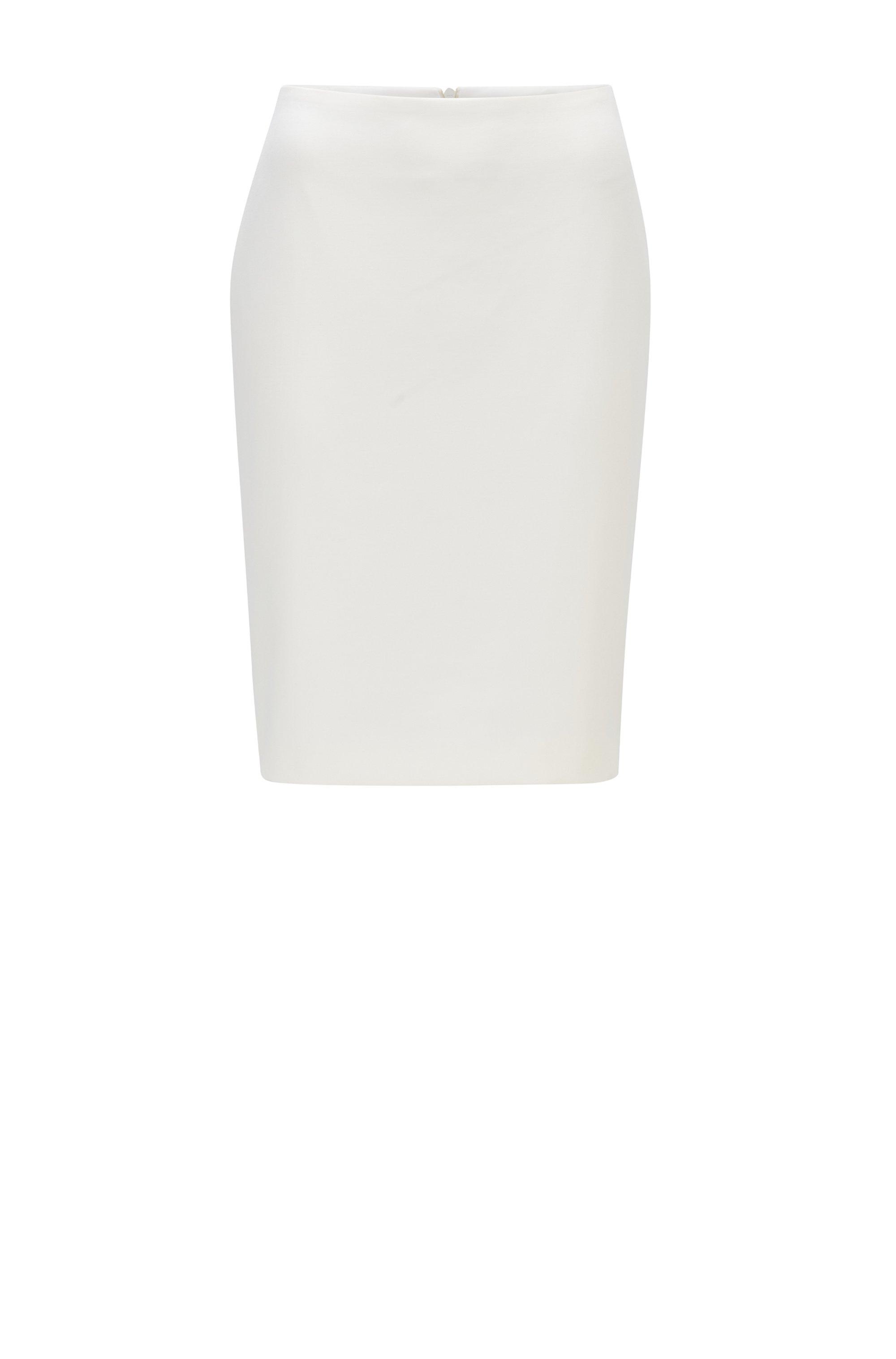 Bleistiftrock aus portugiesischem Stretch-Gewebe mit hohem Bund, Weiß