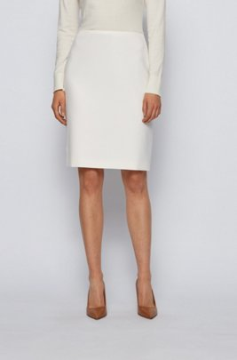 High-waisted pencil skirt in Portuguese stretch fabric, White