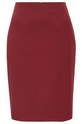 Bleistiftrock aus portugiesischem Stretch-Gewebe mit hohem Bund, Rot