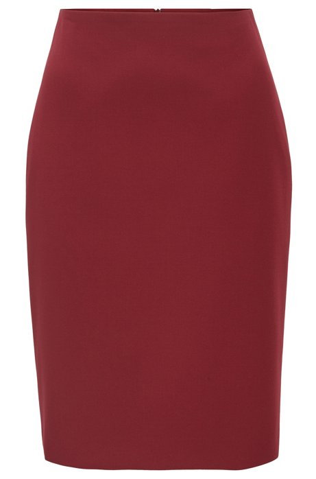 High-waisted pencil skirt in Portuguese stretch fabric, Red
