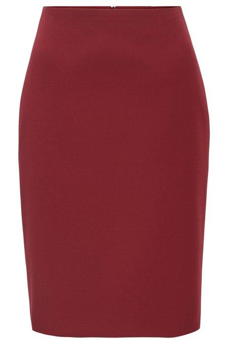 Kokerrok met hoge taille van Portugees stretchmateriaal, Rood