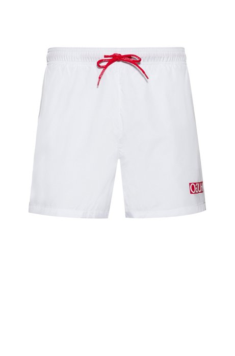 Quick-dry swim shorts with reversed-logo print, White