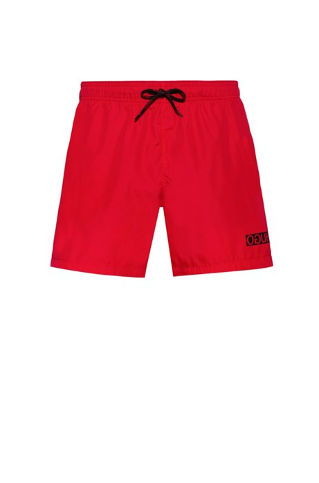 Quick-dry swim shorts with reversed-logo print, Red
