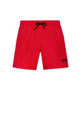 Sneldrogende zwemshort met gespiegelde logoprint, Rood