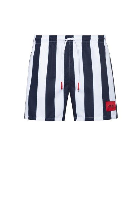 Drawstring-waist swim shorts with vertical stripe, Blue