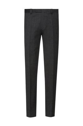 Extra-slim-fit trousers in micro-patterned virgin wool, Dark Grey