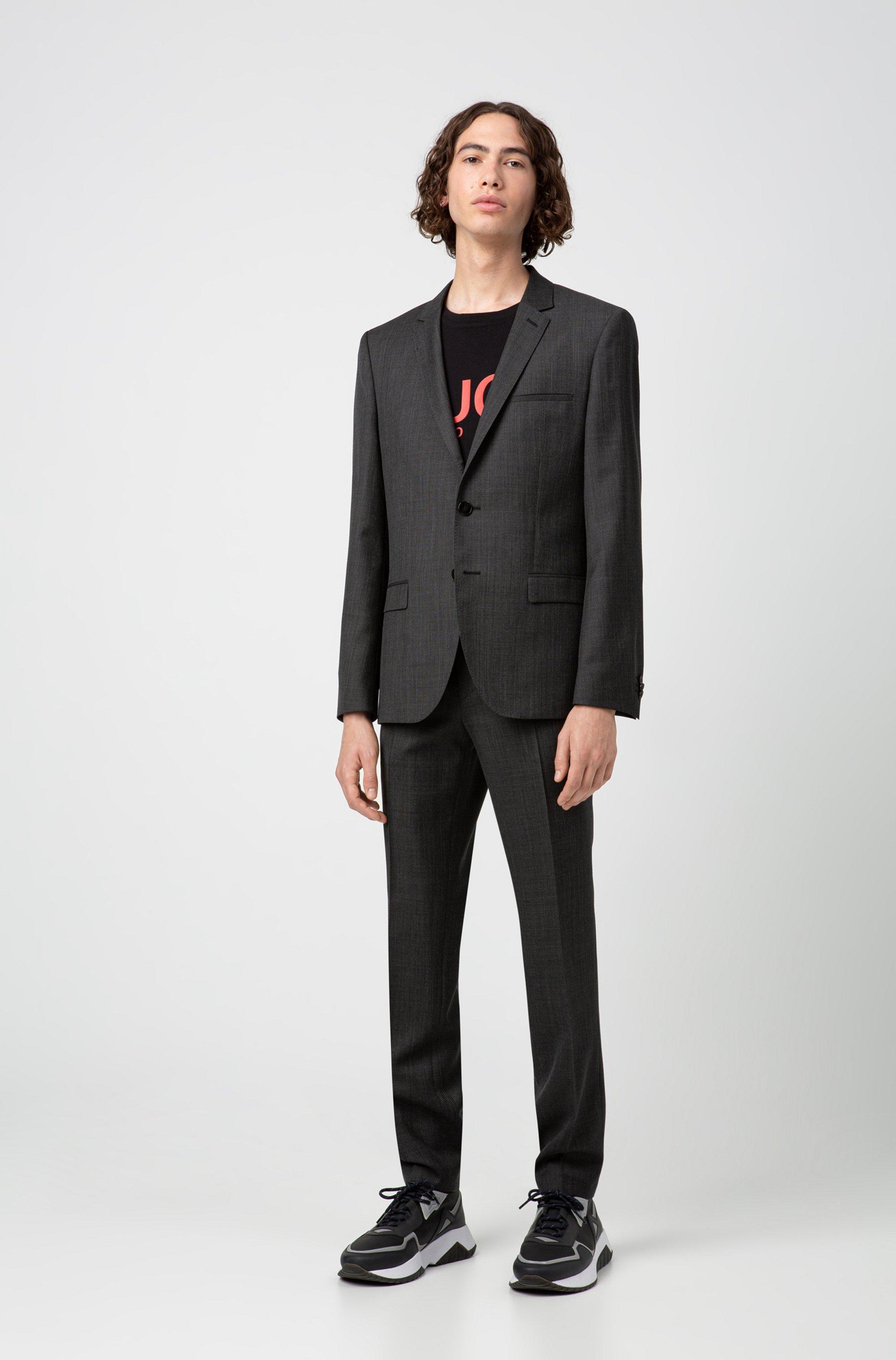 Extra-slim-fit trousers in micro-patterned virgin wool