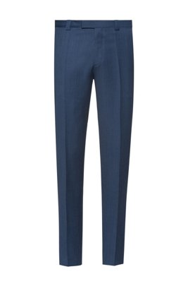Extra-slim-fit trousers in micro-patterned virgin wool, Dark Blue