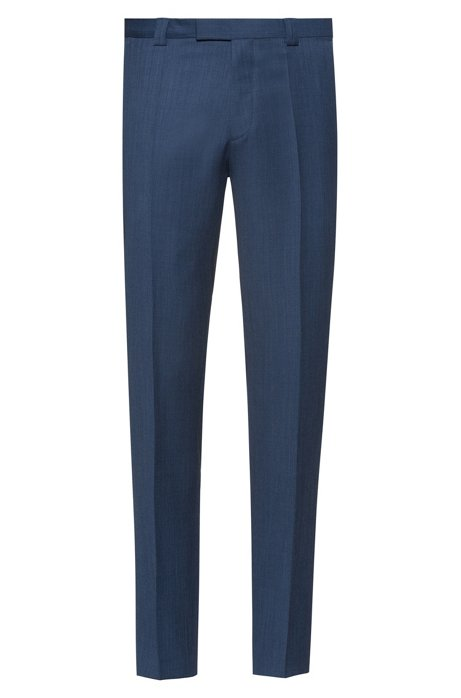 Extra-slim-fit virgin-wool trousers with micro pattern, Dark Blue