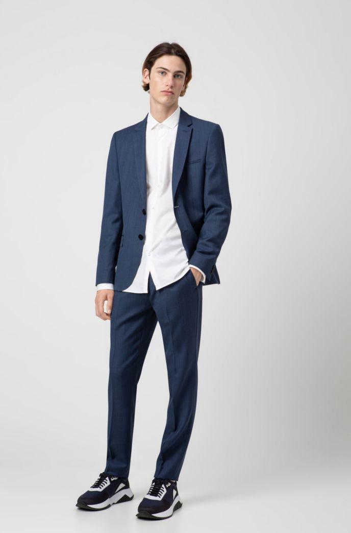 Extra slim-fit broek van scheerwol met microdessin