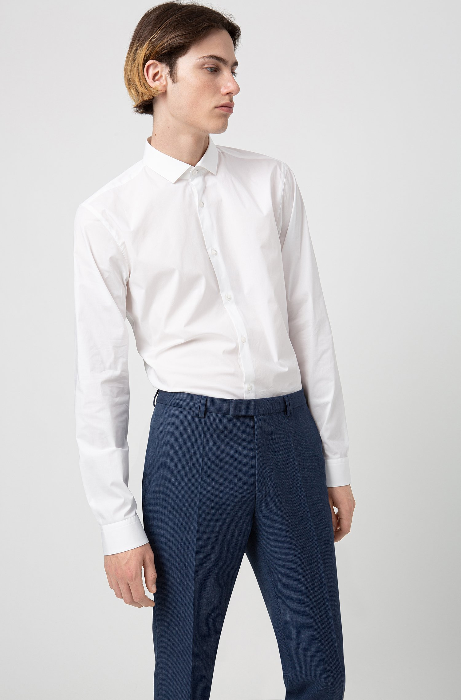 Extra slim-fit broek van scheerwol met microdessin, Donkerblauw