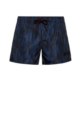 Quick-dry short-length swim shorts with camouflage print, Dark Blue