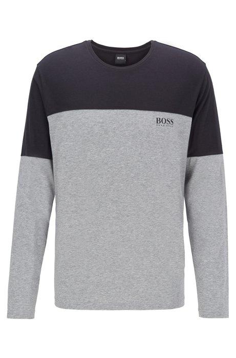Pyjama-Longsleeve aus Single Jersey in Colour-Block-Optik, Schwarz