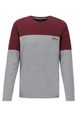 Pyjama-T-shirt van jersey in een katoenmix met lange mouwen en colourblocking, Donkerrood
