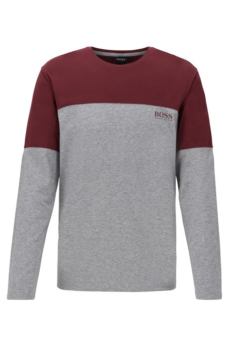 Long-sleeved colour-block pyjama T-shirt in cotton-blend jersey, Dark Red