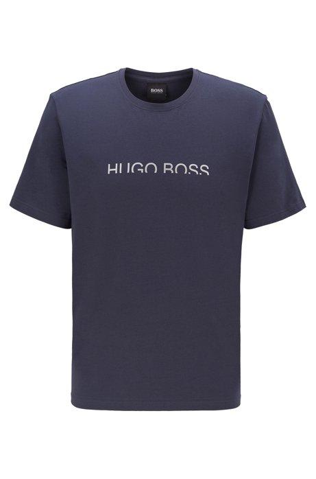 Pyjama-T-shirt van stretchkatoen met verkort metallic logo, Donkerblauw