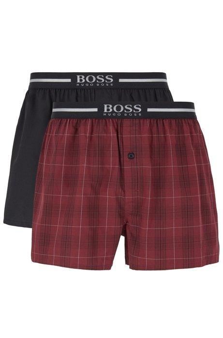 Short de pyjama avec taille à logo métallisé, en lot de deux, Rouge sombre