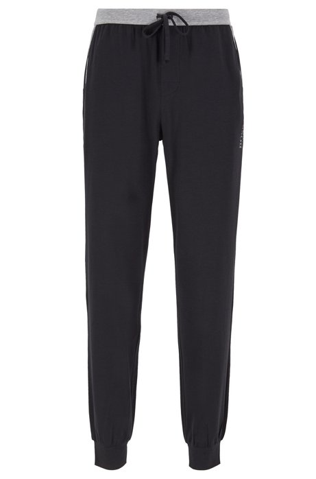 Pantalon de pyjama resserré au bas des jambes, avec taille contrastante, Noir