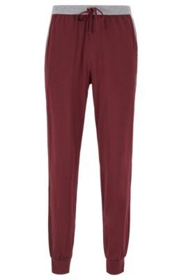 Pyjama-Hose mit Beinbündchen und kontrastfarbenem Bund, Dunkelrot