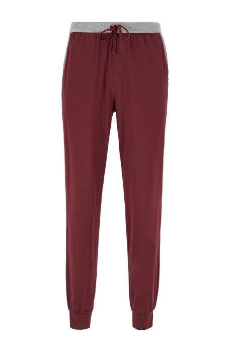 Pyjamabroek met boorden en contrasterende tailleband, Donkerrood