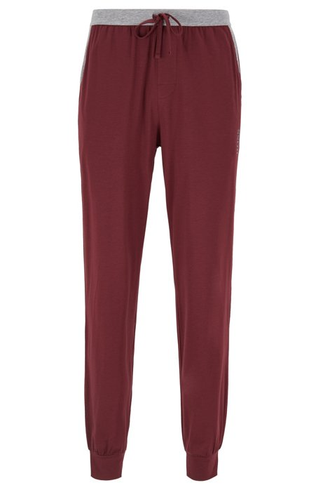 Cuffed-hem pyjama trousers with contrast waistband, Dark Red