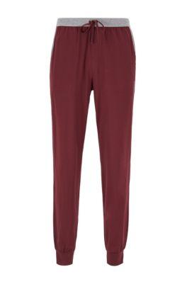 Pantalon de pyjama resserré au bas des jambes, avec taille contrastante, Rouge sombre