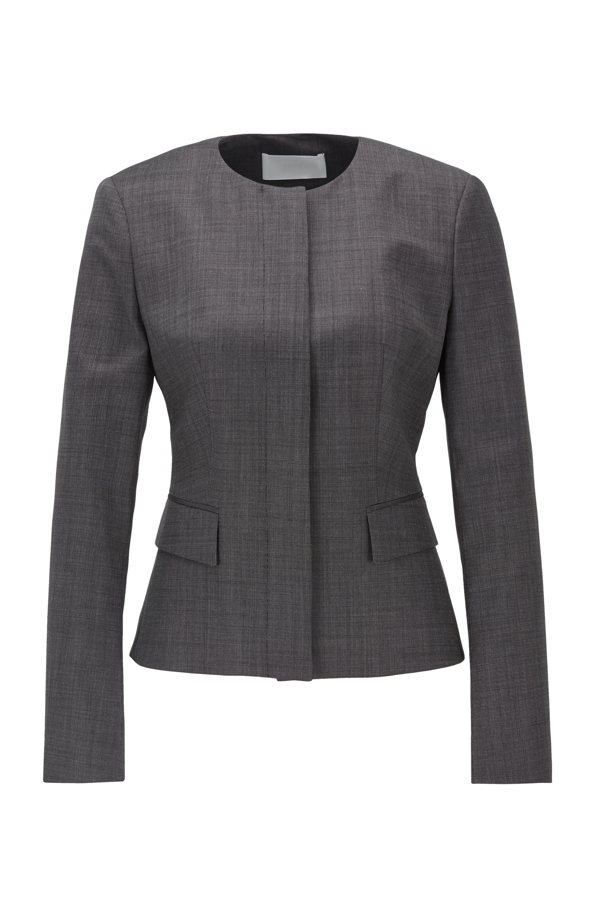 Collarless slim-fit jacket in wool with natural stretch, Patterned
